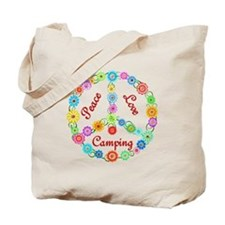 Camping Peace Sign Tote Bag