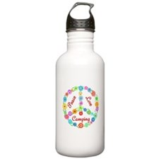 Camping Peace Sign Water Bottle