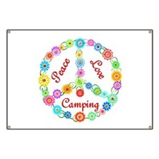 Camping Peace Sign Banner