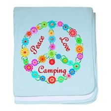 Camping Peace Sign baby blanket