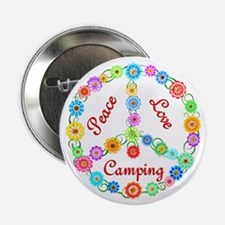 """Camping Peace Sign 2.25"""" Button"""