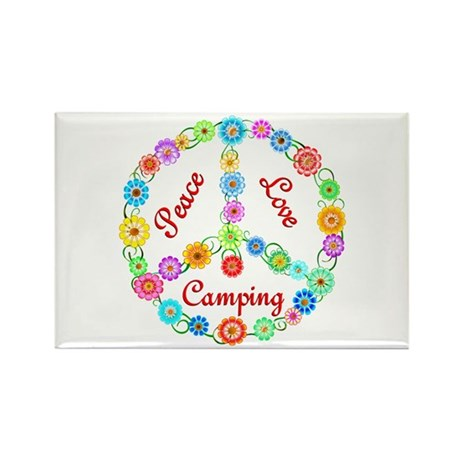 Camping Peace Sign Rectangle Magnet (100 pack)