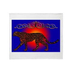 leopard sunset edit Throw Blanket