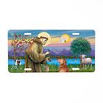 St Francis/Golden Retriever Aluminum License Plate