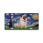 Starry Night Fawn Pug Aluminum License Plate