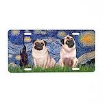 Starry Night / 2 Pugs Aluminum License Plate
