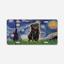 Starry Night Black Pug Aluminum License Plate