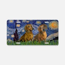 Starry / 2 Dachshunds Aluminum License Plate