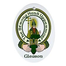Gleason Clan Motto Oval Ornament