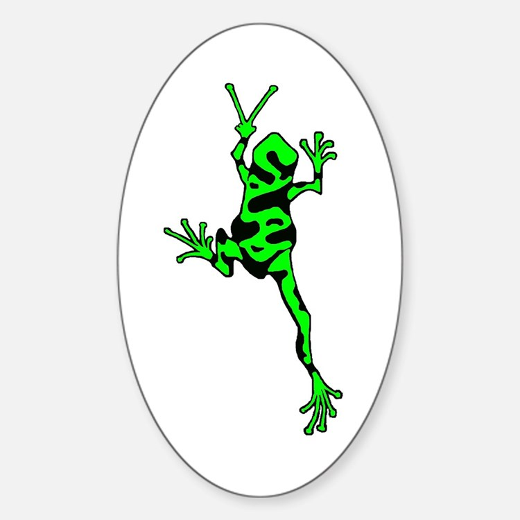 Green Peace Frog Sticker (Oval)