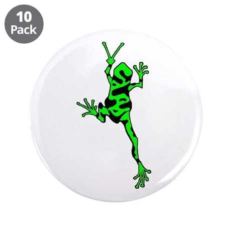 """Green Peace Frog 3.5"""" Button (10 pack)"""
