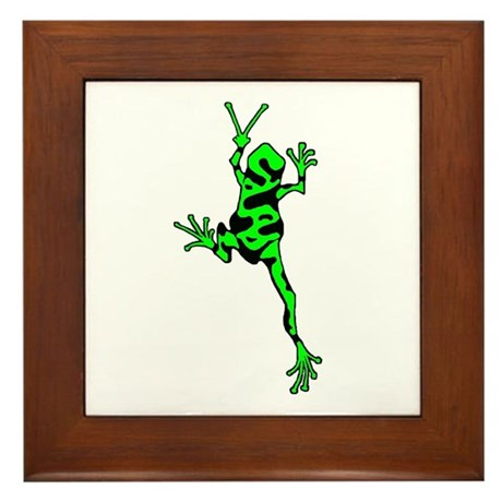 Green Peace Frog Framed Tile