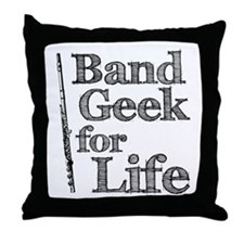 Flute Band Geek Throw Pillow