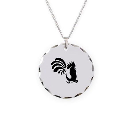 Stylized Rooster Necklace Circle Charm