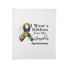 Grandson - Autism Ribbon Throw Blanket