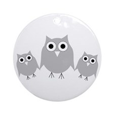 Cute Silver owl Ornament (Round)