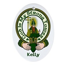Kelly Clan Motto Oval Ornament