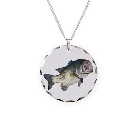 Bass Fisherman Necklace Circle Charm