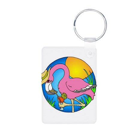 Flamingo Drink Aluminum Photo Keychain