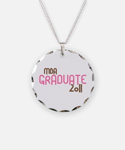 MBA Graduate 2011 (Retro Pink) Necklace Circle Cha