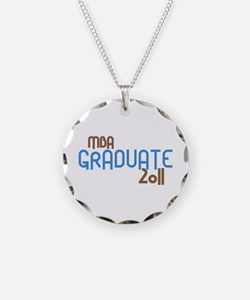 MBA Graduate 2011 (Retro Blue) Necklace Circle Cha