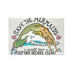 Save the Mermaids Rectangle Magnet (100 pack)