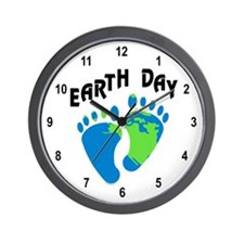 Earth Day Footprints Wall Clock