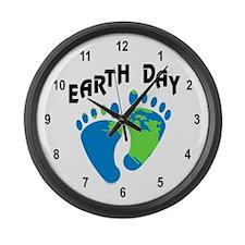 Earth Day Footprints Large Wall Clock