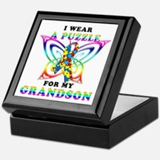 I Wear A Puzzle for my Grandson Keepsake Box