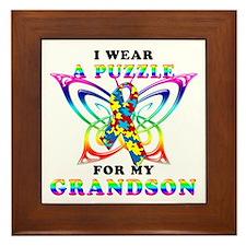 I Wear A Puzzle for my Grandson Framed Tile