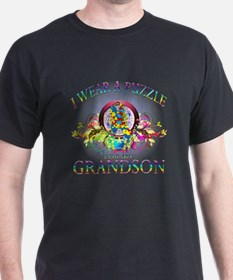 I Wear A Puzzle for my Grandson (floral) T-Shirt