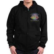I Wear A Puzzle for my Grandson (floral) Zip Hoodie