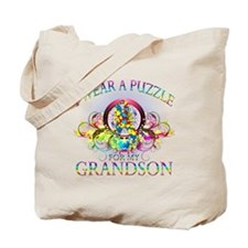 I Wear A Puzzle for my Grandson (floral) Tote Bag