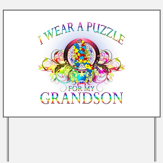 I Wear A Puzzle for my Grandson (floral) Yard Sign