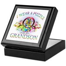 I Wear A Puzzle for my Grandson (floral) Keepsake