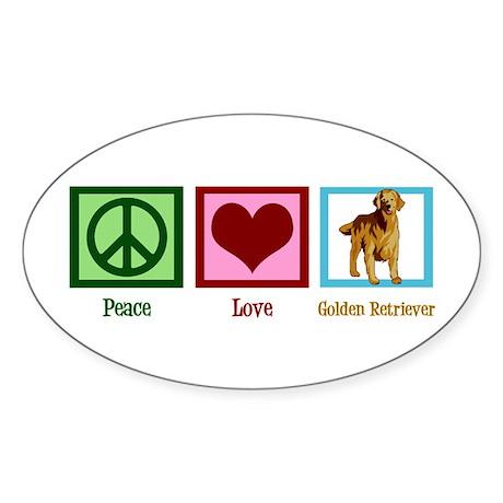 Cute Golden Retriever Sticker (Oval)