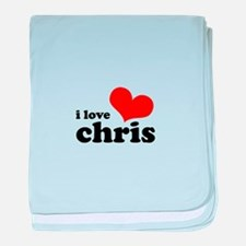 I Love Chris baby blanket
