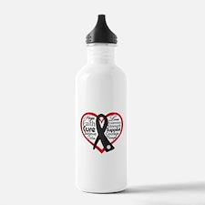 Heart Ribbon Melanoma Water Bottle