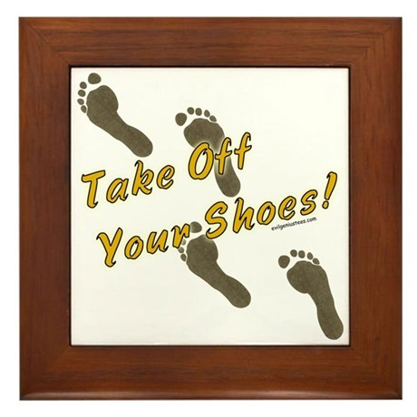 Take off your shoes Framed Tile