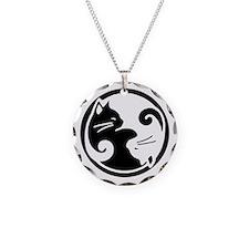Yin Yang Cats Circle Charm Necklace