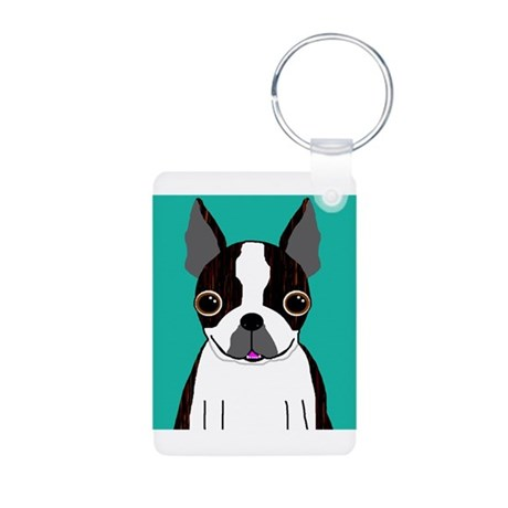 Boston Terrier (Dark Brindle) Aluminum Photo Keych