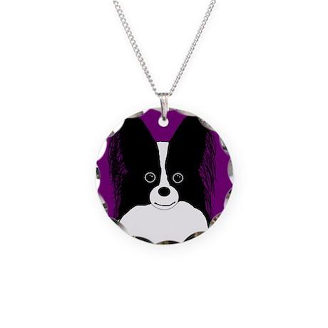 Papillon (B&W) Necklace Circle Charm