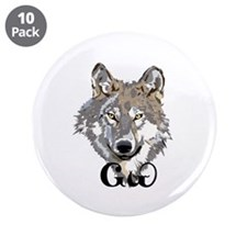 "The Cherokee Wolf 3.5"" Button (10 pack)"