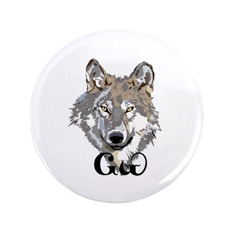 """The Cherokee Wolf 3.5"""" Button"""