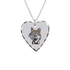 The Cherokee Wolf Necklace Heart Charm
