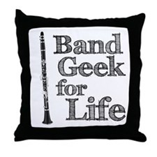 Clarinet Band Geek Throw Pillow