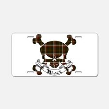 Black Tartan Skull Aluminum License Plate