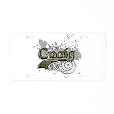 Craig Tartan Grunge Aluminum License Plate