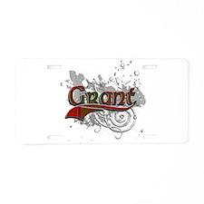 Grant Tartan Grunge Aluminum License Plate