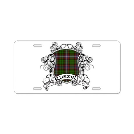 Russell Tartan Shield Aluminum License Plate
